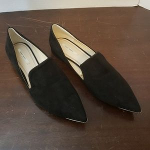 Zara Black Suede Flats with Point Metal Toe.